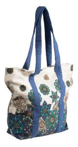 Hippy Bag~Large Hippy Floral Print Shoulder Bag Blue & White Flower Pattern Canvas Bag~Fair Trade by Folio Gothic Hippy SB252